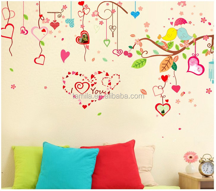 Extra large size love heart tree wall sticker for home decoration