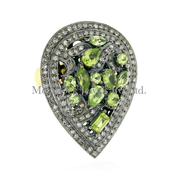 Peridot Gemstone Diamond Pave 925 Sterling Silver Ring Solid Gold Jewelry