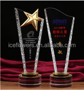 Wholesale different shapes crystal trophy awards plaque with custom logo engraved logo