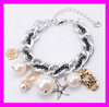 Fashion women hot design pearl beads silver hand chain bracelet HD1495