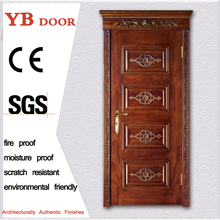Factory price internal standard size stainless steel 2 panel carving wood door
