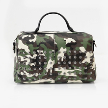 Autumn Retro England style Rivet Handbag with camouflage pattern