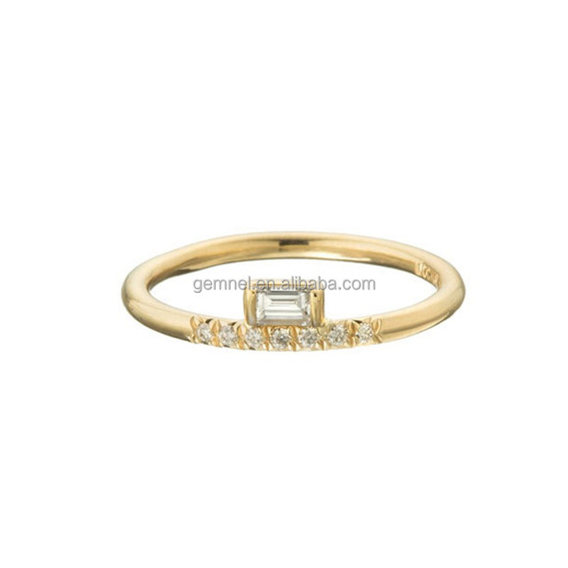 Charm pave set diamond stacked baguette gold ring designs for female