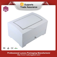 luxury white antique crystal wood jewelry box with magnet