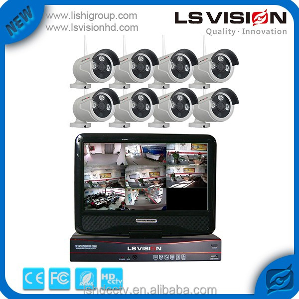 LS VISION 8CH NVR P2P CCTV Outdoor Security HD 720P WIFI Wireless IP Camera System with Screen
