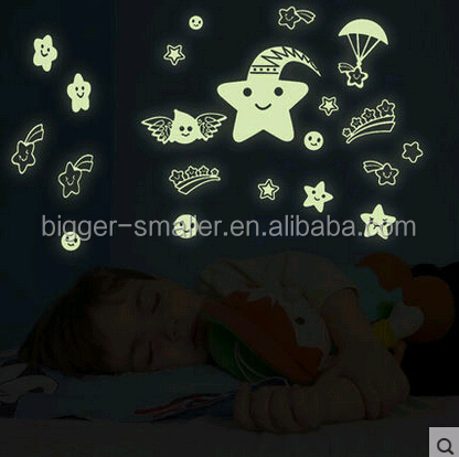 art and craft diy decoration quality beautiful handmade vinyl glow in the dark sticker paper glow in the dark wall decor