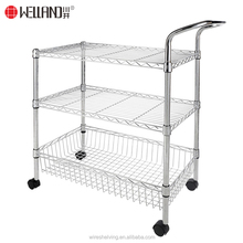 Top quality adjustable chrome 3 layers small kitchen trolley with wheels