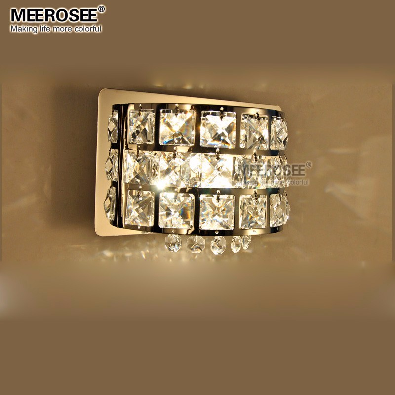 Modern Crystal Wall Light Chrome Metal Wall Lamp Lustre Bed Side Lights for Bedroom Study Porch G9 Bulb MD81634