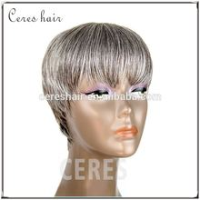 short grey color wig grade 7a virgin hair human hair full lace wig with cheap factory whosale price