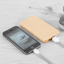 wholesale portable universal bamboo wooden wireless mobile phone power bank charger