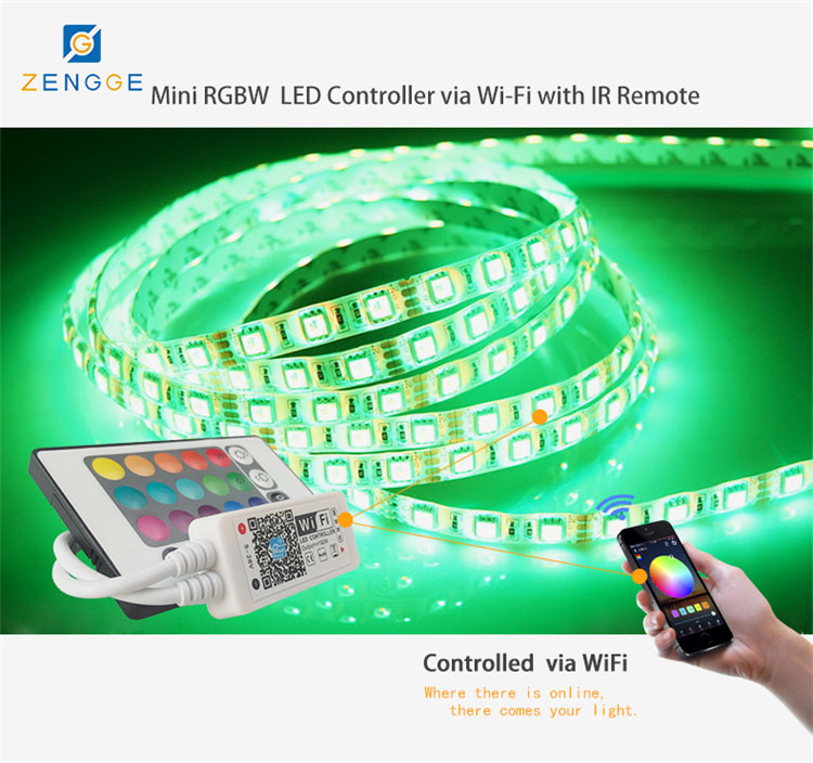 new products of led,Free APP WiFi led rgb+white lighting strip controller for ip68 rgb led strip