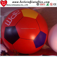 Hot Selling Red color Inflatable Ground Football Balloon And Giant Round Shaped Inflatable Helium Balloon For Advertising