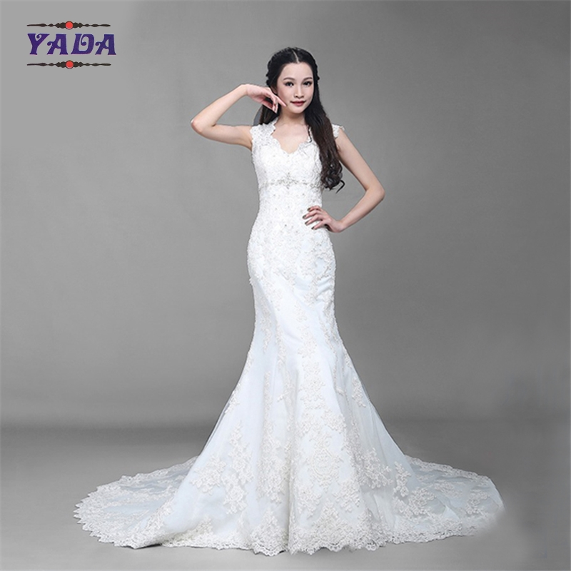 Fashion v neck tulle handmade embroidery bride white beaded mermaid wedding dresses