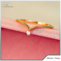 Exquisite Simple Style Crystal Ring with Alloy 18K Gold Plated Women's Ring Two Colors Available130904-42