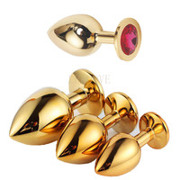 Stainless steel medium size jewelry crystal golden color anal plug anal toy sex products GS0304