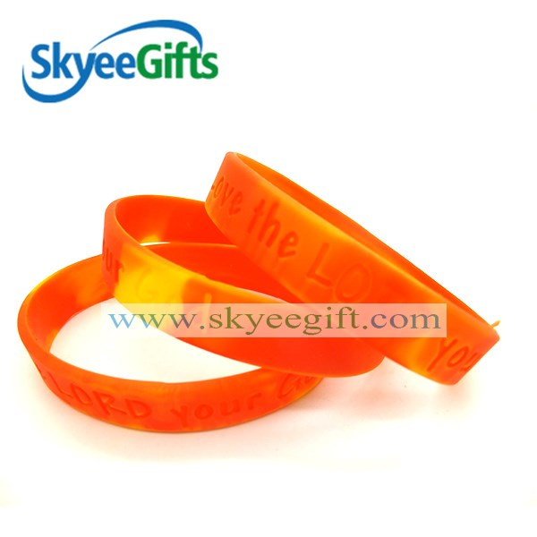 cheap two mixed color rainbow silicone wristbands for music party
