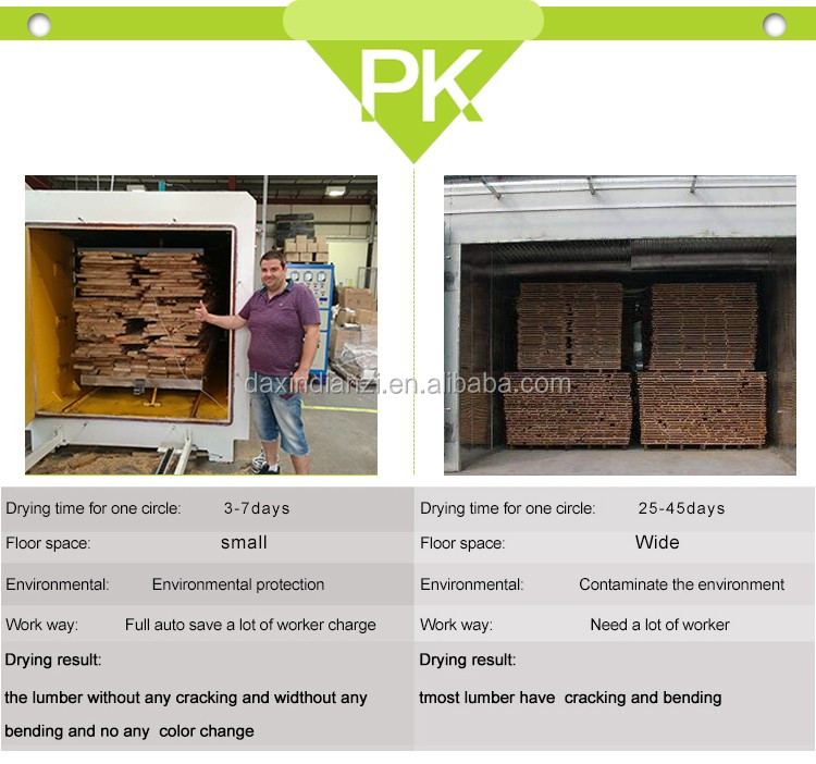 Radio frequency white oak wood board lumber drying kiln