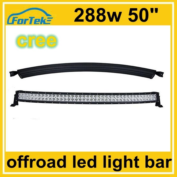 50 inch 288w 4x4 cree led car light curved led for car roof light bar