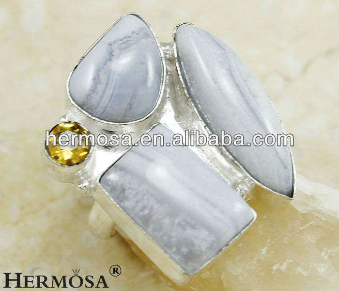 Huge White Jasper Ring Citrine Ring Nature Stone Ring H332