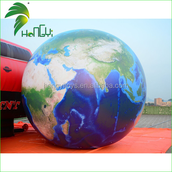 Hongyi Customized High Quality UV Printing Inflatable Earth Globe Balloon , Gient Inflatable Earth Globe Balloon For Advertising