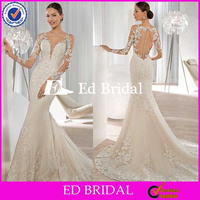 ST933 Hot Sale Custom Made See Through Appliqued Long Sleeve And Back Sheath Court Train Alibaba Wedding Dress