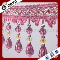 Wholesale Purple Curtain Fringe Beaded Trimming Curtain Decor Home Textile Accessories Lampshade Decor