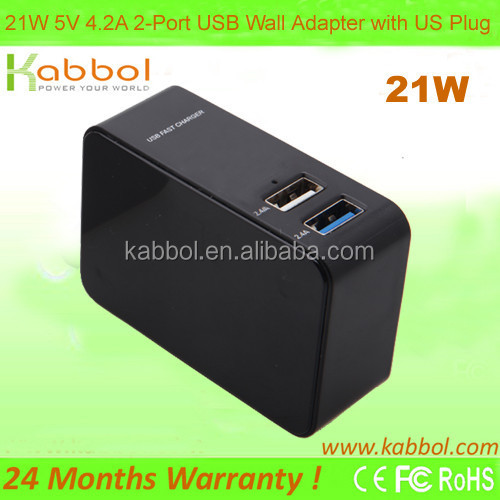 21W 4.2A Portable Dual Port USB Wall Charger Travel Power Adapter for iPhone 6 Plus,Galaxy S6 , iPad 5 4 Mini,Google Tablet