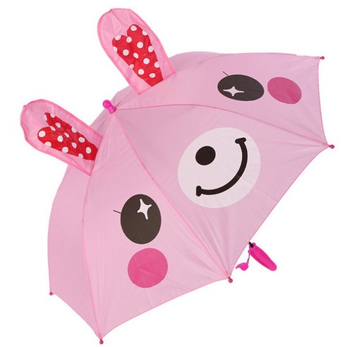 Creative Auto Open Cute Cartoon Animal Shape Long Handle Kids Umbrellas