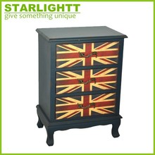 Vintage Union Jack Storage Trunk Living Room Furniture