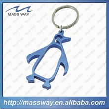 custom aluminum blue color penquin shape bottle opener keyring