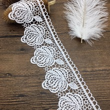 7.5cm wholesale liturgical OLCT 15024 polyester yarn lace flower trims