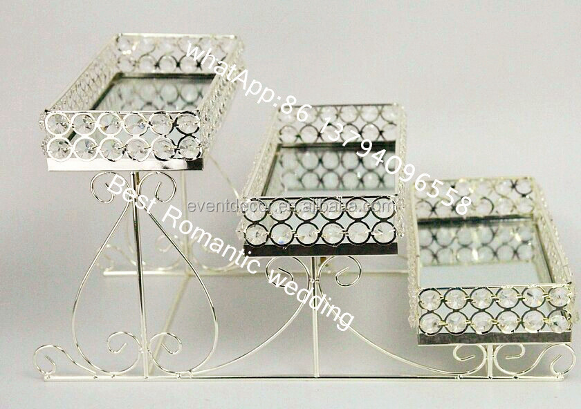 3 Tier Crystal Metal Serving Tray Mirrored Serving Glass