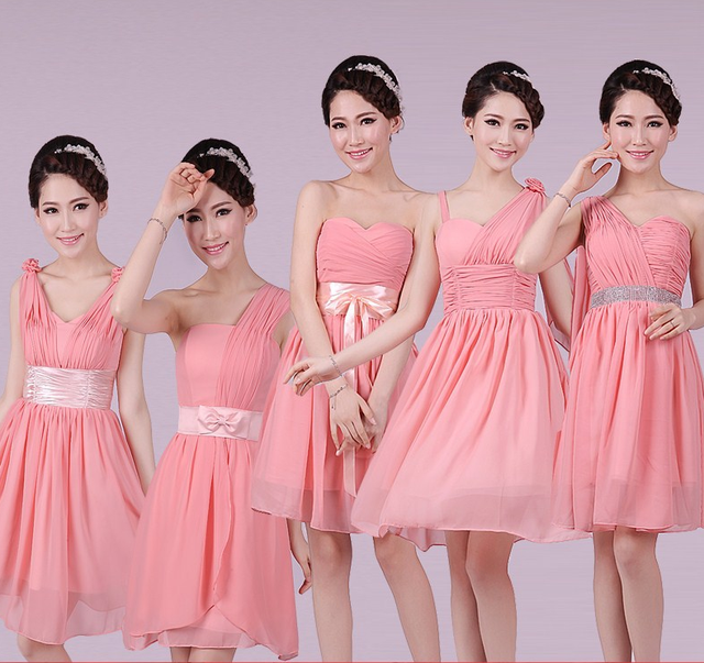 High quality Best custom pink color wisteria bridesmaid dress QNZL-003654