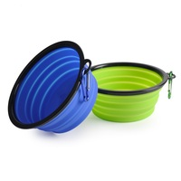 foldable pet bowl drink water silicone collapsible bowl for camping