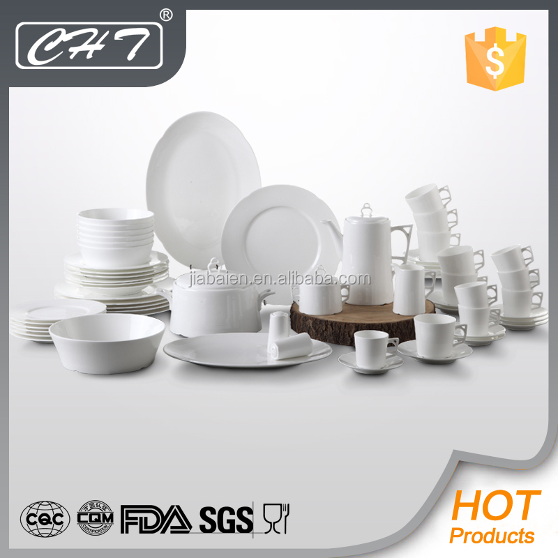 Plain white fine bone china 100 piece china dinner sets with high quality