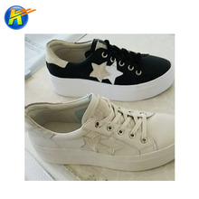 Ladies leisure shoe PU raw materials microfibre leather for girl white shoes
