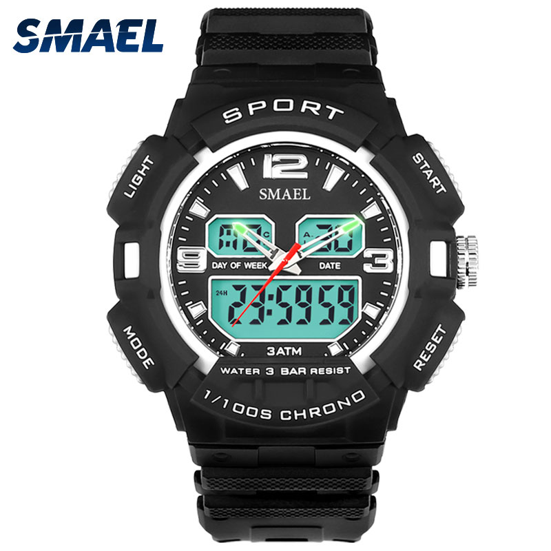 Cool Male Clocks Hot Smart SMAEL1378 Teenage Present New Sports Watches for <strong>Men</strong> Dual Time Display Electronic Digital Wristwatch