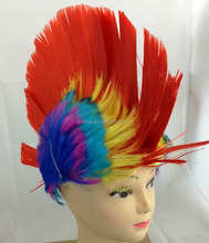 Red Mohawk Punk Kids Fancy Dress Wig Adults Party Disco Stag Hen Do Novelty Wigs W12224