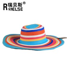 ladies fashion summer hat straw beach hat sun wide brim hat