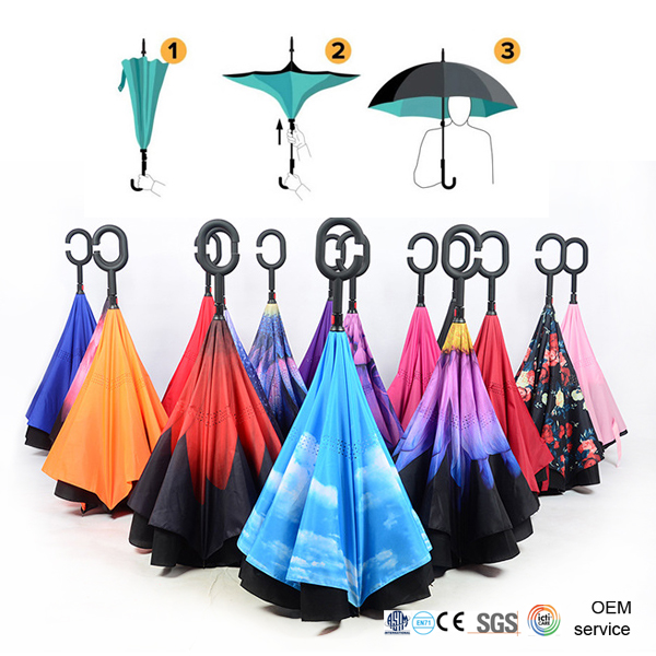 Wholesale and retail new reverse umbrella <strong>C</strong>-holder double layer upside down promotional OEM logo