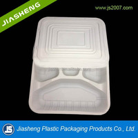 take away 4 compartment plastic food packaging tray with lid
