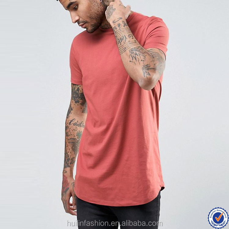 dri fit shirts wholesale super longline short sleeve slim fit running t shirt with curved hem