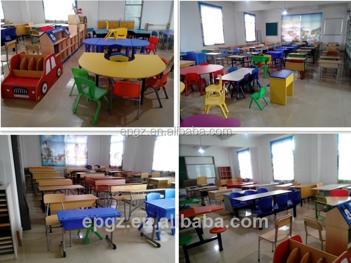 Kindergarten Round School Table And Chairs Sets Flower