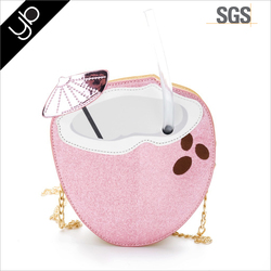 Wholesale fashion woman 3d coco shape pu leather single-shoulder crossbody travel gift bag with chain