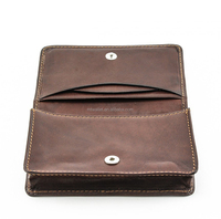 Made from full grain cow hide leather vegetable tanned cards case, features two(2) card or receipt slots in top flap
