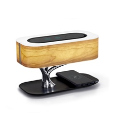 Ampulla Masdio Bedside Lamp with Bluetooth Speaker and Wireless Charger, Sleep Mode Stepless Dimming