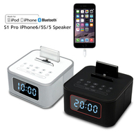 New S1 pro Alarm Clock Radio Speaker system,Multifunction bluetooth subwoofer speaker charging docking station for iphone6/5s/5