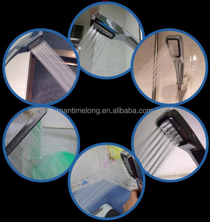 물 절약 샤워 헤드 300 구멍 가압 ABS 크롬 도금 욕실 손 샤워 물 ...