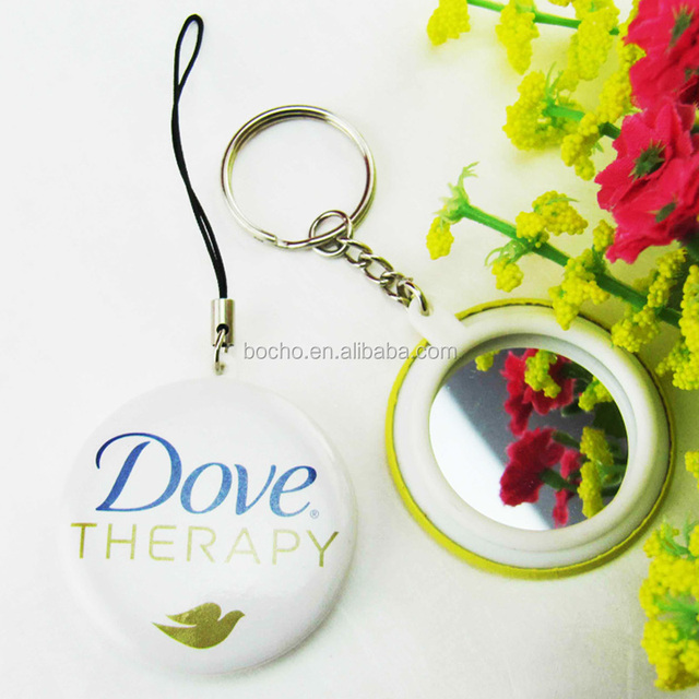 custom printed 44mm button cosmetic mirror key chain