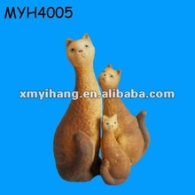 3 lovely clay sitting cat statue for garden ornament
